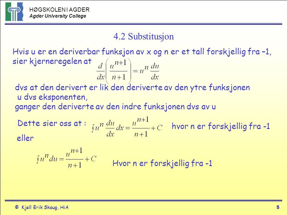 HØGSKOLEN I AGDER Agder University College © Kjell Erik Skaug, HiA6 4.2 Substitusjon2 Eksempel 4 hvor u=1+y 2 deriverer u for å finne ut hva er du du/dy=2y eller du=2ydy Substitusjon 1.