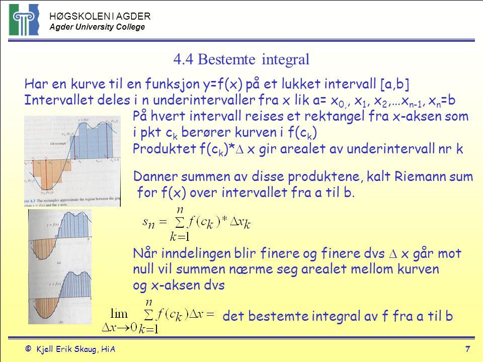 HØGSKOLEN I AGDER Agder University College © Kjell Erik Skaug, HiA7 4.4 Bestemte integral Har en kurve til en funksjon y=f(x) på et lukket intervall [
