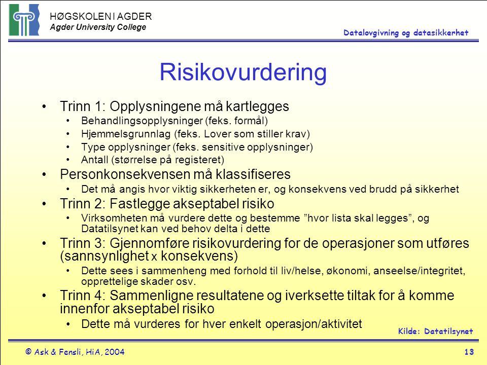 HØGSKOLEN I AGDER Agder University College © Ask & Fensli, HiA, 200413 Datalovgivning og datasikkerhet Risikovurdering Trinn 1: Opplysningene må kartl