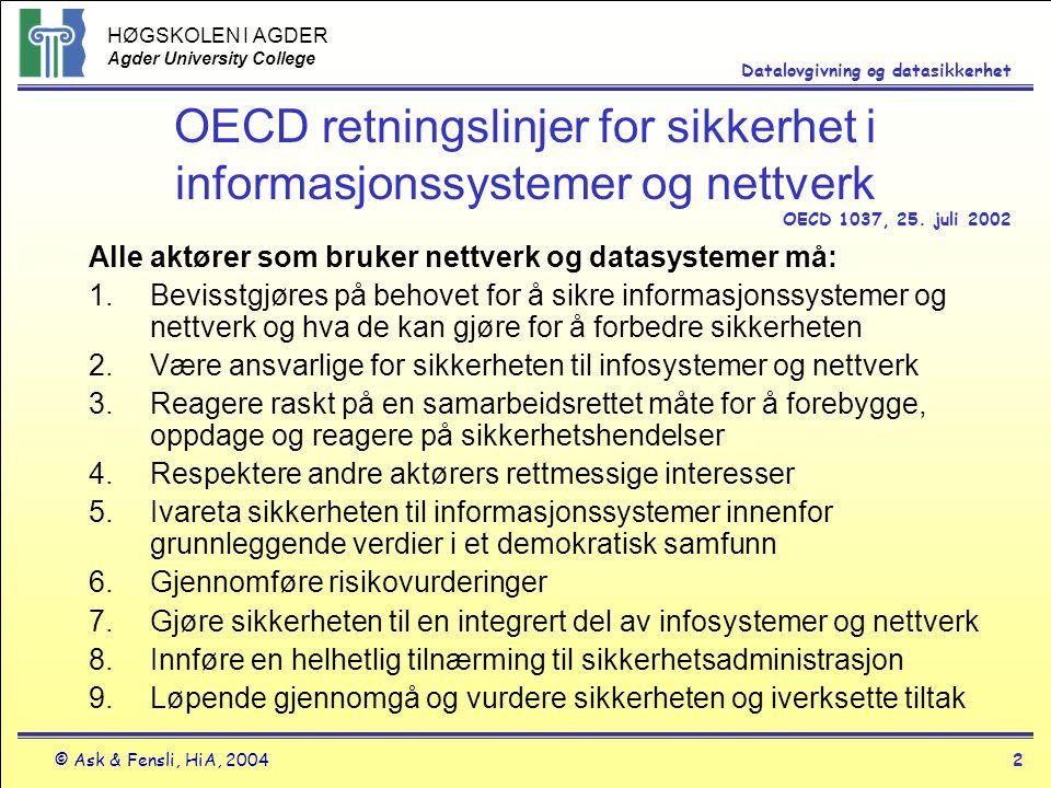 HØGSKOLEN I AGDER Agder University College © Ask & Fensli, HiA, 20042 Datalovgivning og datasikkerhet OECD retningslinjer for sikkerhet i informasjons