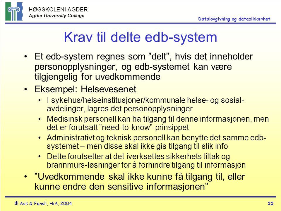 HØGSKOLEN I AGDER Agder University College © Ask & Fensli, HiA, 200422 Datalovgivning og datasikkerhet Krav til delte edb-system Et edb-system regnes