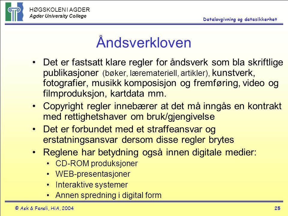 HØGSKOLEN I AGDER Agder University College © Ask & Fensli, HiA, 200425 Datalovgivning og datasikkerhet Åndsverkloven Det er fastsatt klare regler for