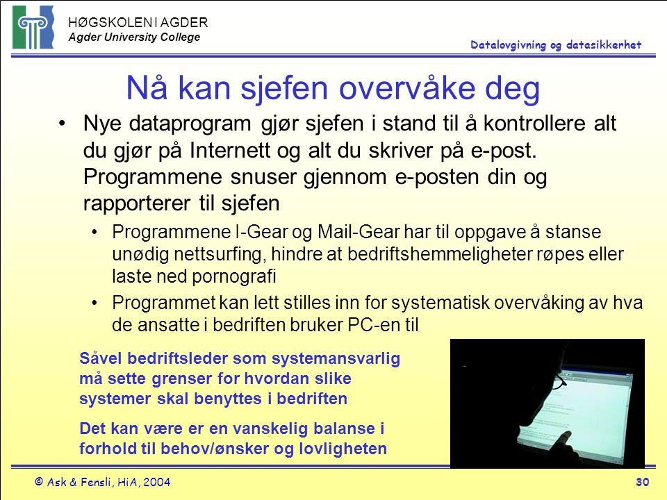 HØGSKOLEN I AGDER Agder University College © Ask & Fensli, HiA, 200430 Datalovgivning og datasikkerhet Nå kan sjefen overvåke deg Nye dataprogram gjør