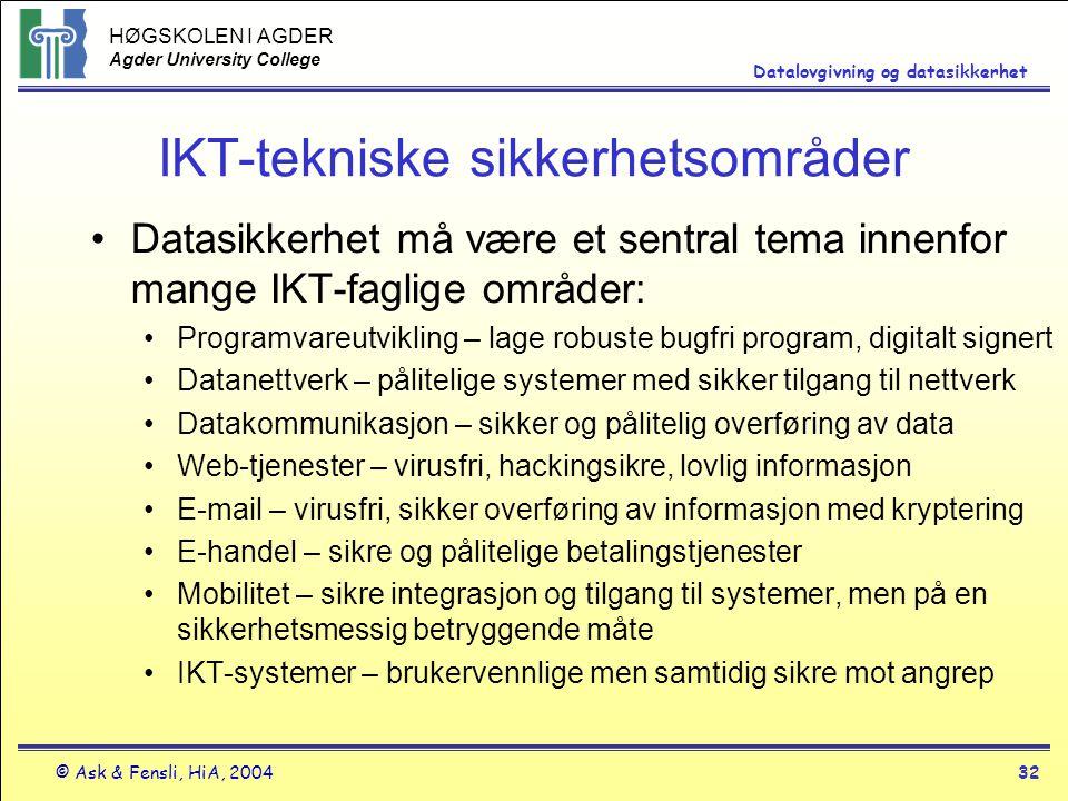 HØGSKOLEN I AGDER Agder University College © Ask & Fensli, HiA, 200432 Datalovgivning og datasikkerhet IKT-tekniske sikkerhetsområder Datasikkerhet må