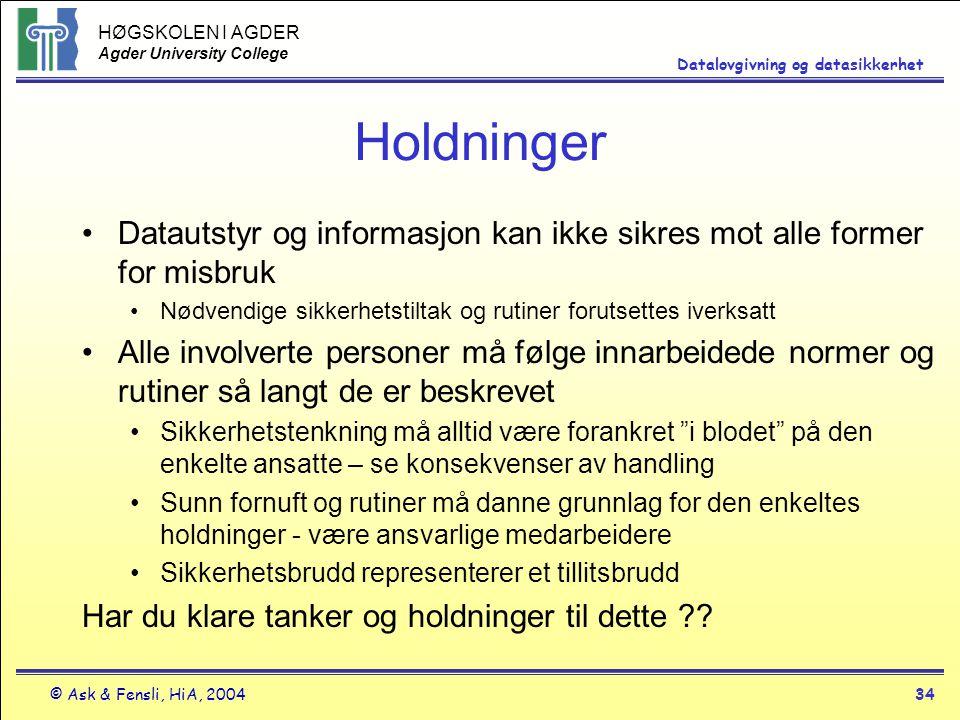 HØGSKOLEN I AGDER Agder University College © Ask & Fensli, HiA, 200434 Datalovgivning og datasikkerhet Holdninger Datautstyr og informasjon kan ikke s
