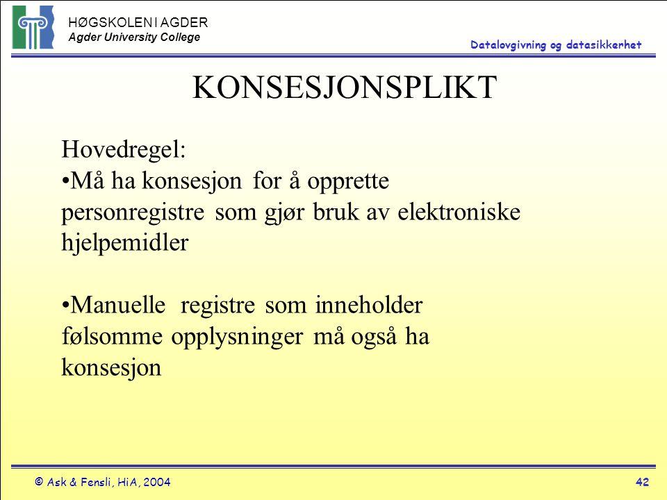 HØGSKOLEN I AGDER Agder University College © Ask & Fensli, HiA, 200442 Datalovgivning og datasikkerhet KONSESJONSPLIKT Hovedregel: Må ha konsesjon for