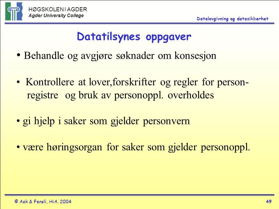HØGSKOLEN I AGDER Agder University College © Ask & Fensli, HiA, 200449 Datalovgivning og datasikkerhet Behandle og avgjøre søknader om konsesjon Kontr