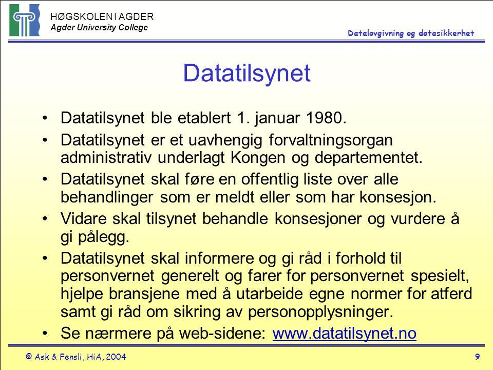 HØGSKOLEN I AGDER Agder University College © Ask & Fensli, HiA, 20049 Datalovgivning og datasikkerhet Datatilsynet Datatilsynet ble etablert 1. januar