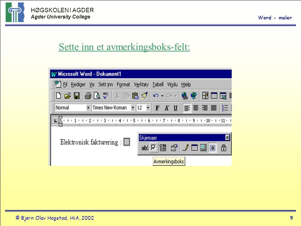 HØGSKOLEN I AGDER Agder University College © Bjørn Olav Hogstad, HiA, 2002 HØGSKOLEN I AGDER Agder University College Word - maler 9 Sette inn et avmerkingsboks-felt: