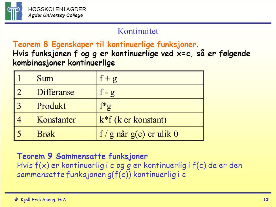 HØGSKOLEN I AGDER Agder University College © Kjell Erik Skaug, HiA11 Kontinuitet Kontinuitets test Funksjonen f(x) er kontinuerlig i punktet x=d hvis og bare hvis følgende tre krav er oppfylt.
