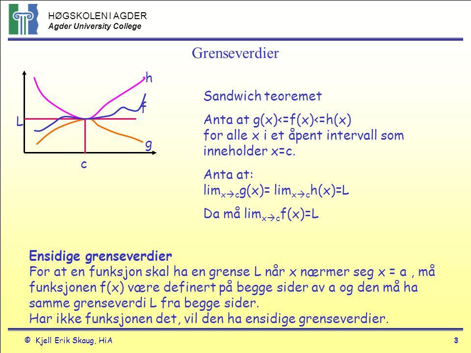 HØGSKOLEN I AGDER Agder University College © Kjell Erik Skaug, HiA2 Grenseverdier Teorem 2 Grenser for polynomer Hvis P(x) = a n x n + a n-1 x n-1 + …..