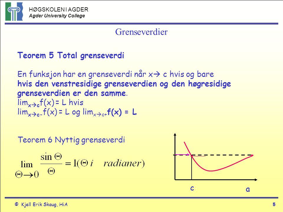 HØGSKOLEN I AGDER Agder University College © Kjell Erik Skaug, HiA4 Grenseverdier Hvis f(x) er definert i intervallet (a,b) hvor a < b.
