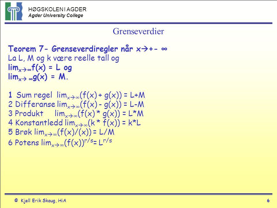 HØGSKOLEN I AGDER Agder University College © Kjell Erik Skaug, HiA5 Grenseverdier Teorem 5 Total grenseverdi En funksjon har en grenseverdi når x  c hvis og bare hvis den venstresidige grenseverdien og den høgresidige grenseverdien er den samme.