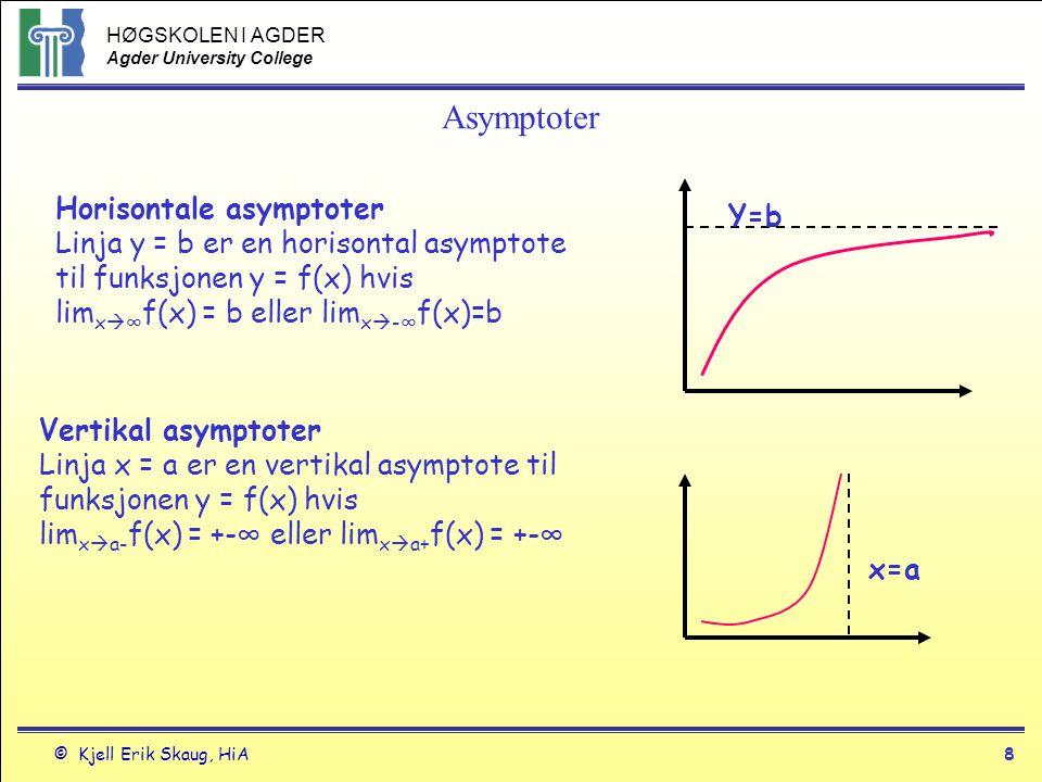 HØGSKOLEN I AGDER Agder University College © Kjell Erik Skaug, HiA7 Grenseverdier Grenseverdien i en brøk når x går mot uendelig Graden av x i teller > Graden av x i nevner grenseverdien er uendelig Graden av x i teller < Graden av x i nevner grenseverdien er 0 Graden av x i teller = Graden av x i nevner Grenseverdien er en verdi - et tall Regnemessig: Divider teller og nevner med største x-potens i nevner
