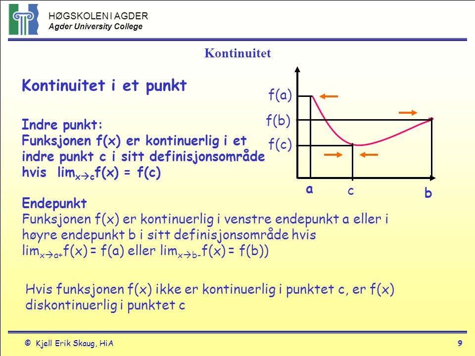 HØGSKOLEN I AGDER Agder University College © Kjell Erik Skaug, HiA8 Asymptoter Horisontale asymptoter Linja y = b er en horisontal asymptote til funksjonen y = f(x) hvis lim x  ∞ f(x) = b eller lim x  -∞ f(x)=b Y=b Vertikal asymptoter Linja x = a er en vertikal asymptote til funksjonen y = f(x) hvis lim x  a- f(x) = +-∞ eller lim x  a+ f(x) = +-∞ x=a