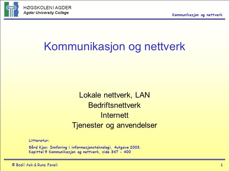 HØGSKOLEN I AGDER Agder University College © Bodil Ask & Rune Fensli1 Kommunikasjon og nettverk Lokale nettverk, LAN Bedriftsnettverk Internett Tjenes