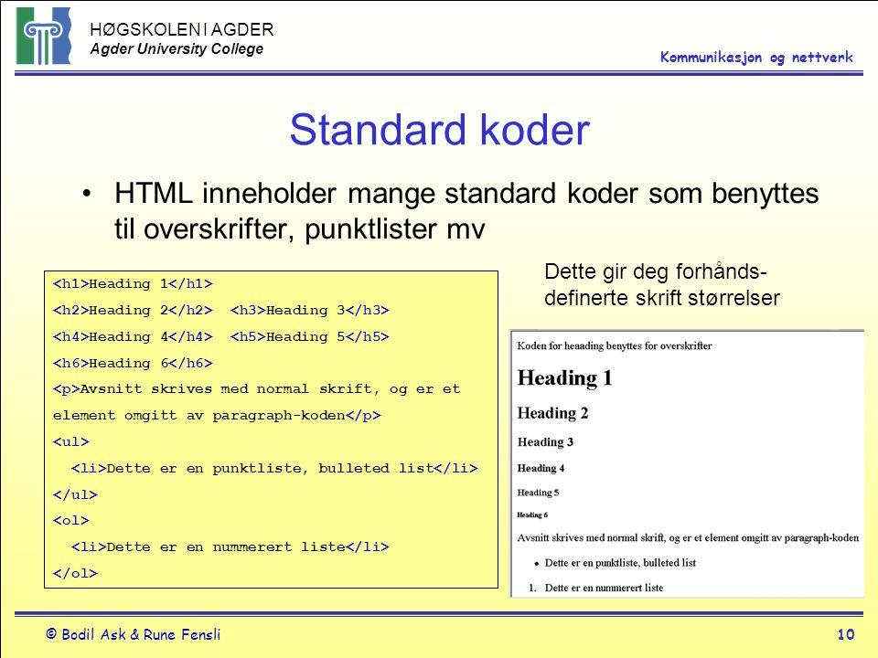 HØGSKOLEN I AGDER Agder University College © Bodil Ask & Rune Fensli10 Kommunikasjon og nettverk Standard koder HTML inneholder mange standard koder s