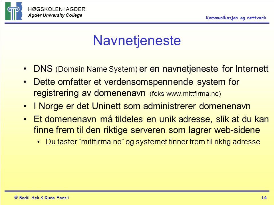 HØGSKOLEN I AGDER Agder University College © Bodil Ask & Rune Fensli14 Kommunikasjon og nettverk Navnetjeneste DNS (Domain Name System) er en navnetje