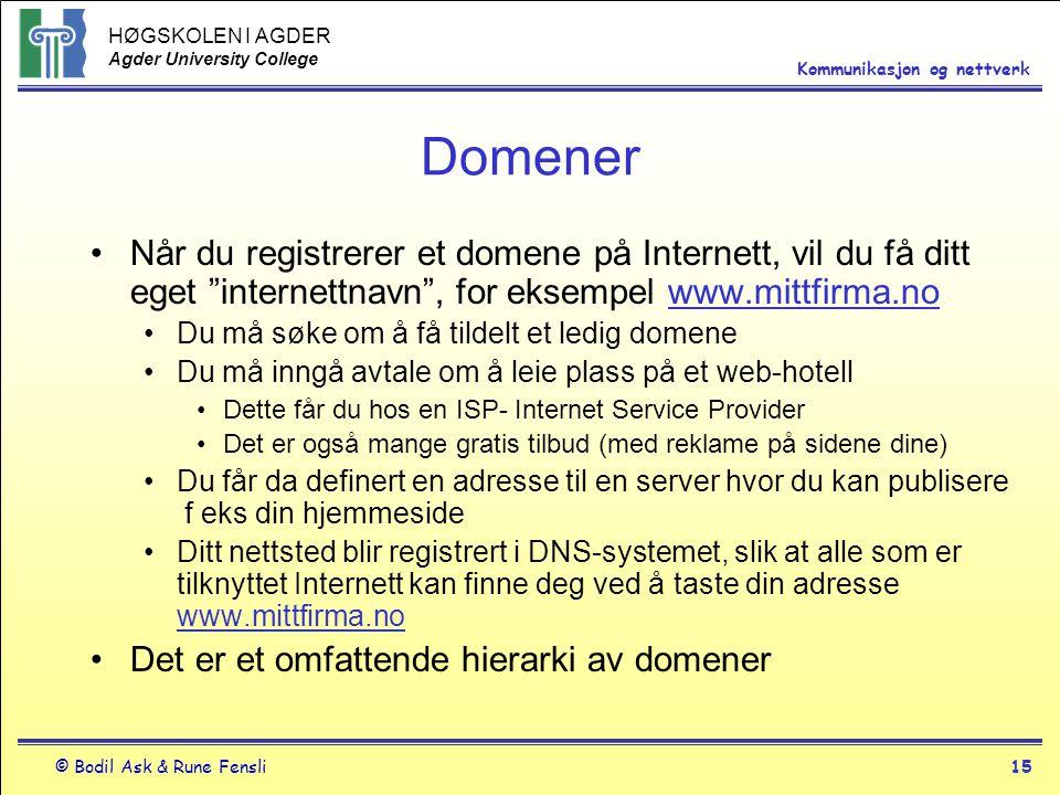 HØGSKOLEN I AGDER Agder University College © Bodil Ask & Rune Fensli15 Kommunikasjon og nettverk Domener Når du registrerer et domene på Internett, vi
