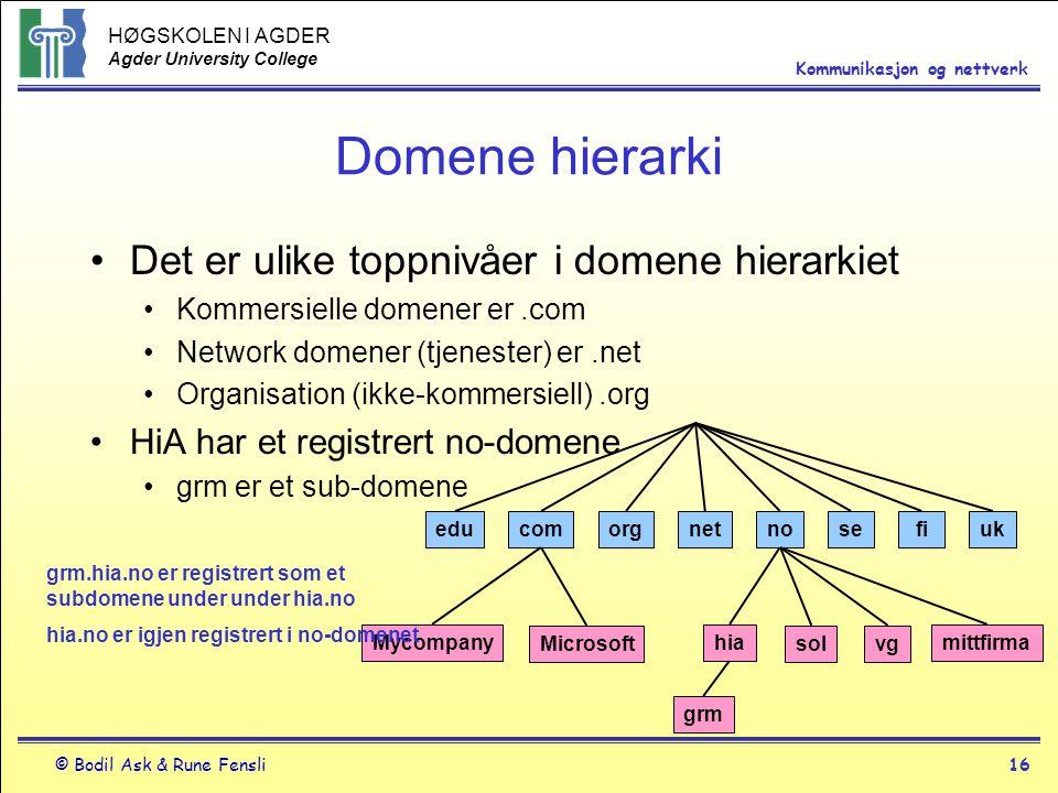 HØGSKOLEN I AGDER Agder University College © Bodil Ask & Rune Fensli16 Kommunikasjon og nettverk Domene hierarki Det er ulike toppnivåer i domene hier