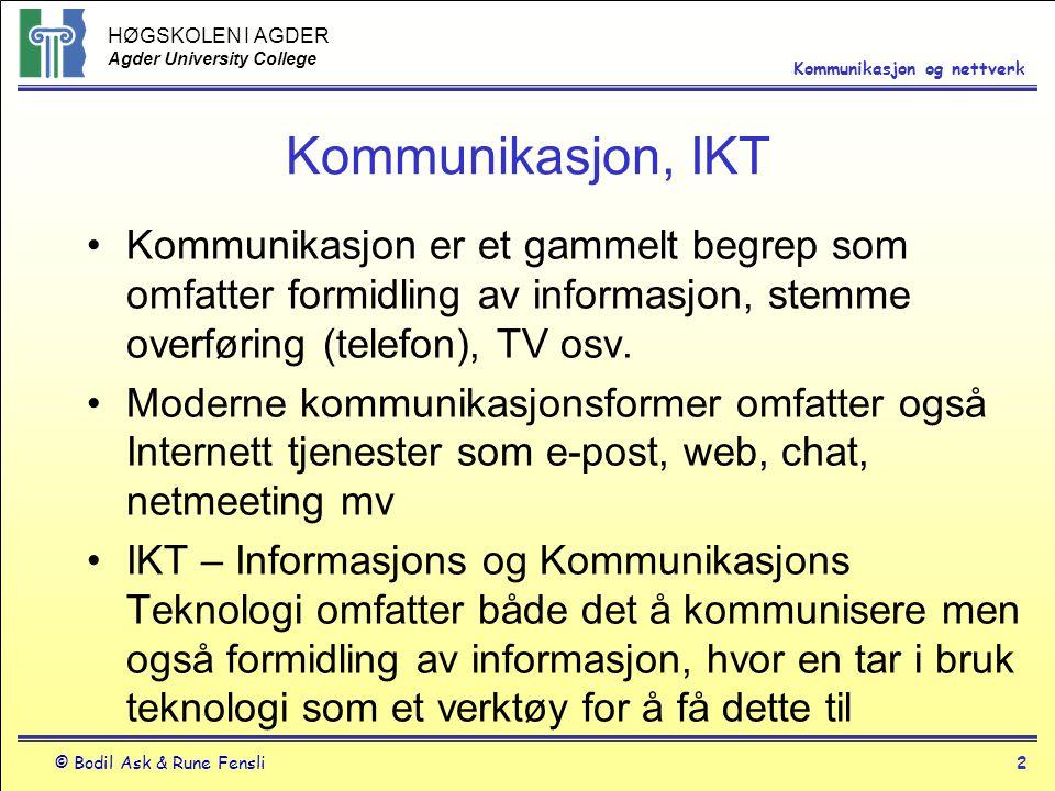 HØGSKOLEN I AGDER Agder University College © Bodil Ask & Rune Fensli2 Kommunikasjon og nettverk Kommunikasjon, IKT Kommunikasjon er et gammelt begrep