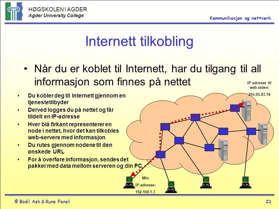 HØGSKOLEN I AGDER Agder University College © Bodil Ask & Rune Fensli21 Kommunikasjon og nettverk Internett tilkobling Når du er koblet til Internett,