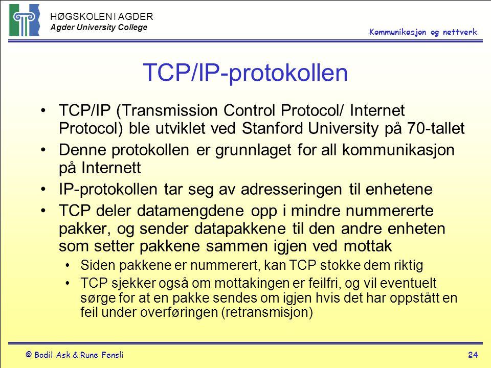 HØGSKOLEN I AGDER Agder University College © Bodil Ask & Rune Fensli24 Kommunikasjon og nettverk TCP/IP-protokollen TCP/IP (Transmission Control Proto