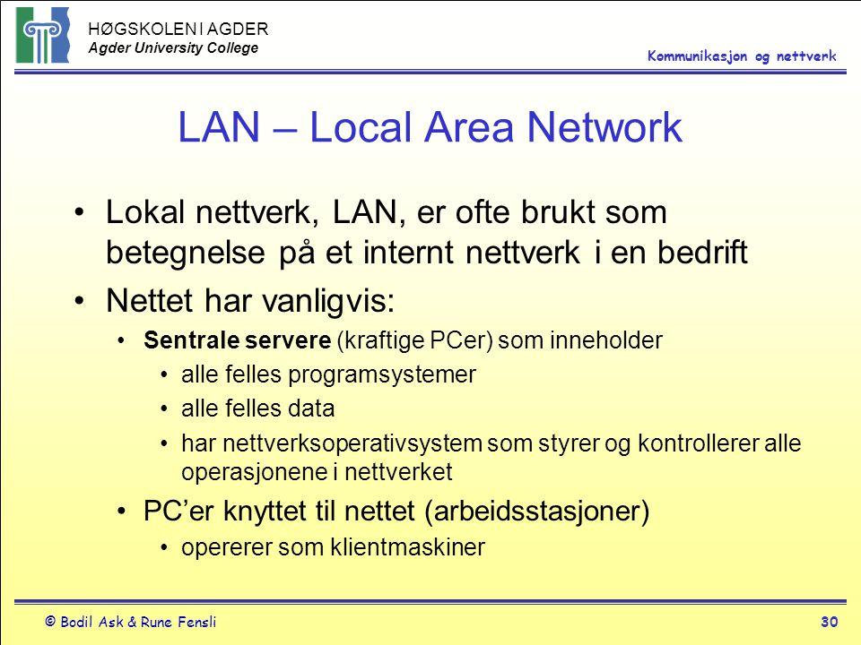 HØGSKOLEN I AGDER Agder University College © Bodil Ask & Rune Fensli30 Kommunikasjon og nettverk LAN – Local Area Network Lokal nettverk, LAN, er ofte