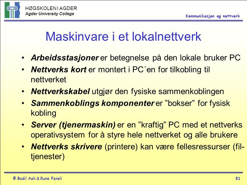 HØGSKOLEN I AGDER Agder University College © Bodil Ask & Rune Fensli31 Kommunikasjon og nettverk Maskinvare i et lokalnettverk Arbeidsstasjoner er bet
