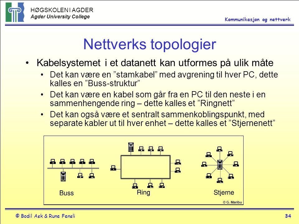 HØGSKOLEN I AGDER Agder University College © Bodil Ask & Rune Fensli34 Kommunikasjon og nettverk Nettverks topologier Kabelsystemet i et datanett kan