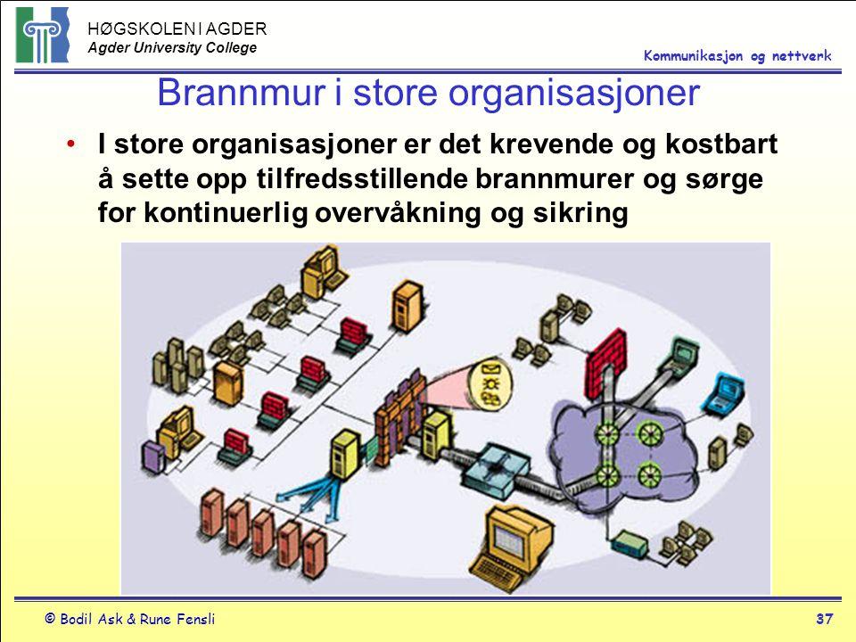 HØGSKOLEN I AGDER Agder University College © Bodil Ask & Rune Fensli37 Kommunikasjon og nettverk Brannmur i store organisasjoner I store organisasjone