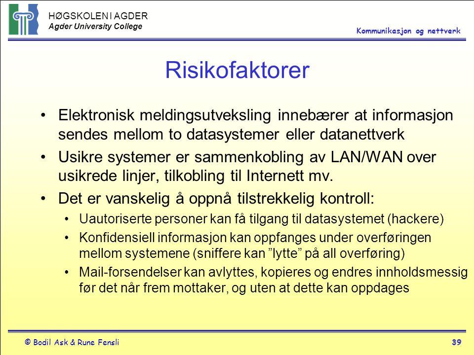 HØGSKOLEN I AGDER Agder University College © Bodil Ask & Rune Fensli39 Kommunikasjon og nettverk Risikofaktorer Elektronisk meldingsutveksling innebær