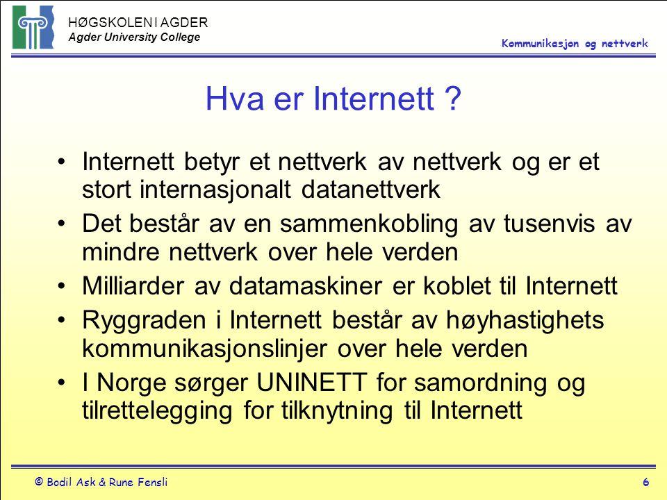 HØGSKOLEN I AGDER Agder University College © Bodil Ask & Rune Fensli6 Kommunikasjon og nettverk Hva er Internett ? Internett betyr et nettverk av nett