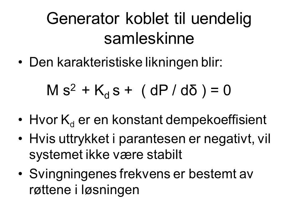 Generator koblet til uendelig samleskinne Den karakteristiske likningen blir: Hvor K d er en konstant dempekoeffisient Hvis uttrykket i parantesen er