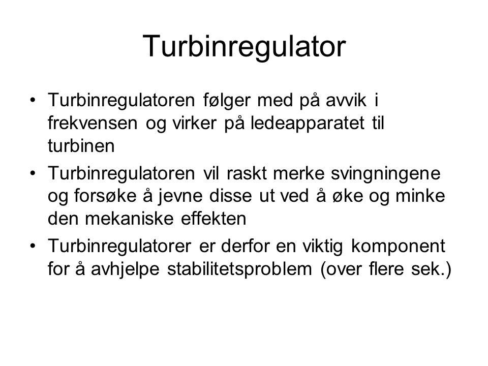Turbinregulator Turbinregulatoren følger med på avvik i frekvensen og virker på ledeapparatet til turbinen Turbinregulatoren vil raskt merke svingning