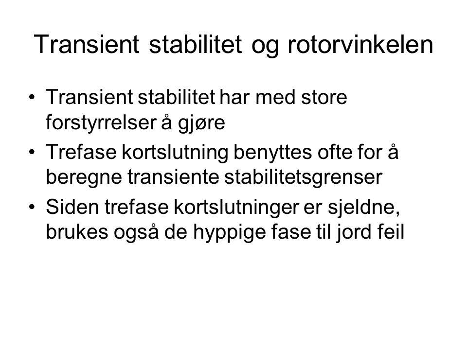 Transient stabilitet og rotorvinkelen Transient stabilitet har med store forstyrrelser å gjøre Trefase kortslutning benyttes ofte for å beregne transi