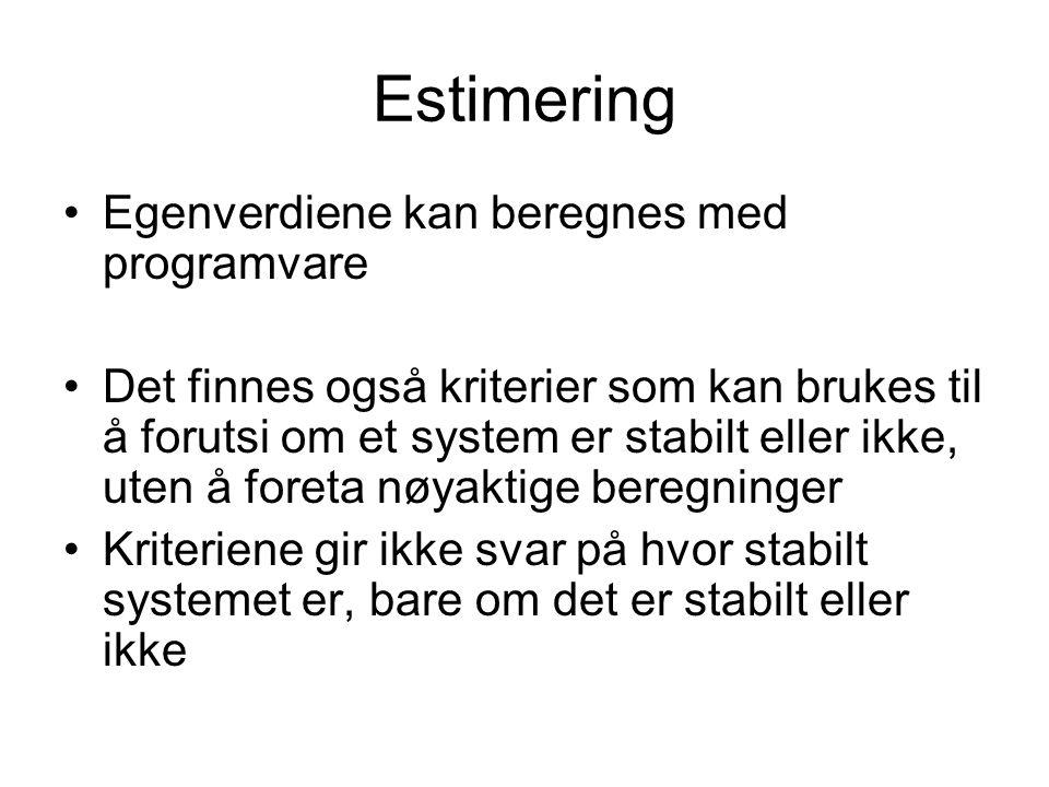 Estimering Egenverdiene kan beregnes med programvare Det finnes også kriterier som kan brukes til å forutsi om et system er stabilt eller ikke, uten å