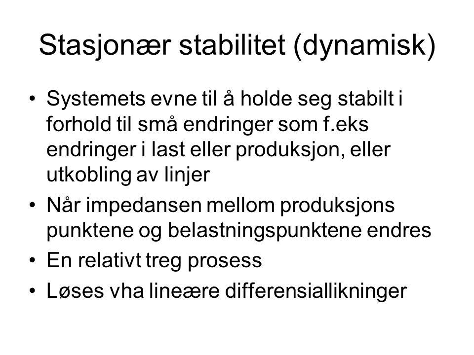 Stasjonær stabilitet (dynamisk) Systemets evne til å holde seg stabilt i forhold til små endringer som f.eks endringer i last eller produksjon, eller