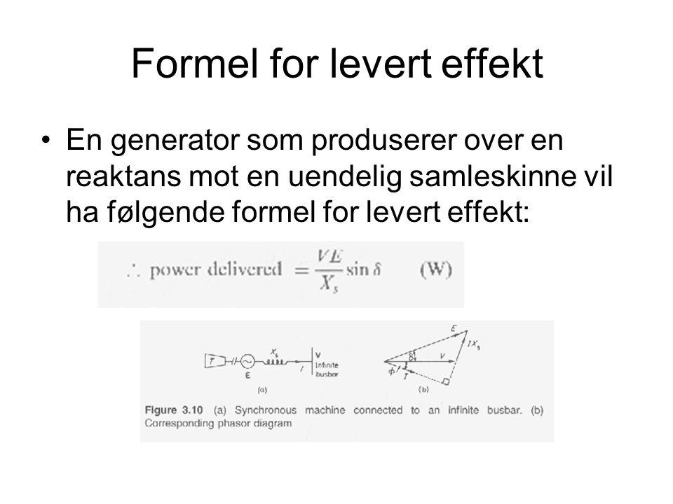 Formel for levert effekt En generator som produserer over en reaktans mot en uendelig samleskinne vil ha følgende formel for levert effekt:
