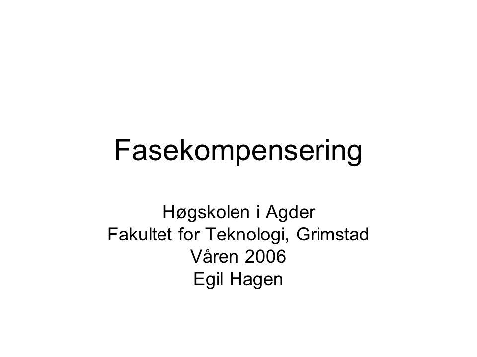 Fasekompensering Høgskolen i Agder Fakultet for Teknologi, Grimstad Våren 2006 Egil Hagen