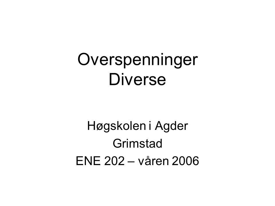 Overspenninger Diverse Høgskolen i Agder Grimstad ENE 202 – våren 2006