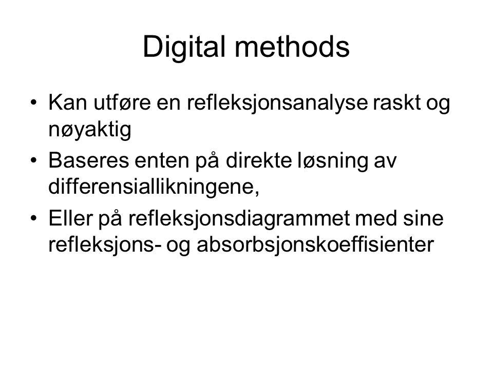Digital methods Kan utføre en refleksjonsanalyse raskt og nøyaktig Baseres enten på direkte løsning av differensiallikningene, Eller på refleksjonsdia