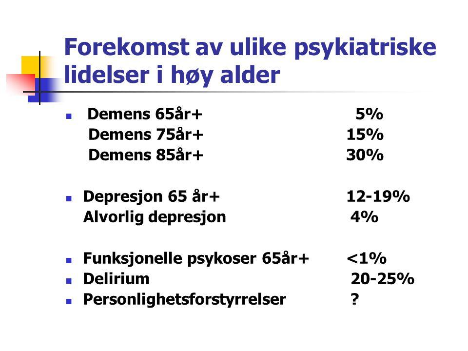 Risiko for ny psykiatrisk sykdom Reduserte mestringsevner Ensidig livsinnhold (redusert mental fleksibilitet) Eksistensiell meningsløshet Tap Somatisk