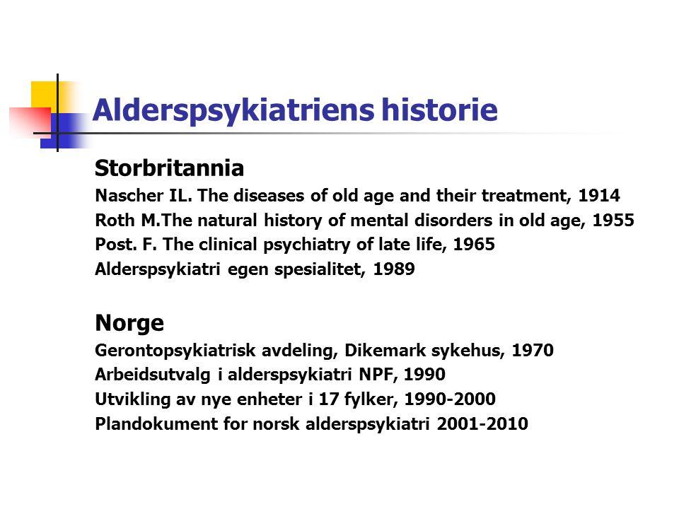 Forekomst av ulike psykiatriske lidelser i høy alder Demens 65år+ 5% Demens 75år+15% Demens 85år+30% Depresjon 65 år+12-19% Alvorlig depresjon 4% Funksjonelle psykoser 65år+<1% Delirium 20-25% Personlighetsforstyrrelser ?