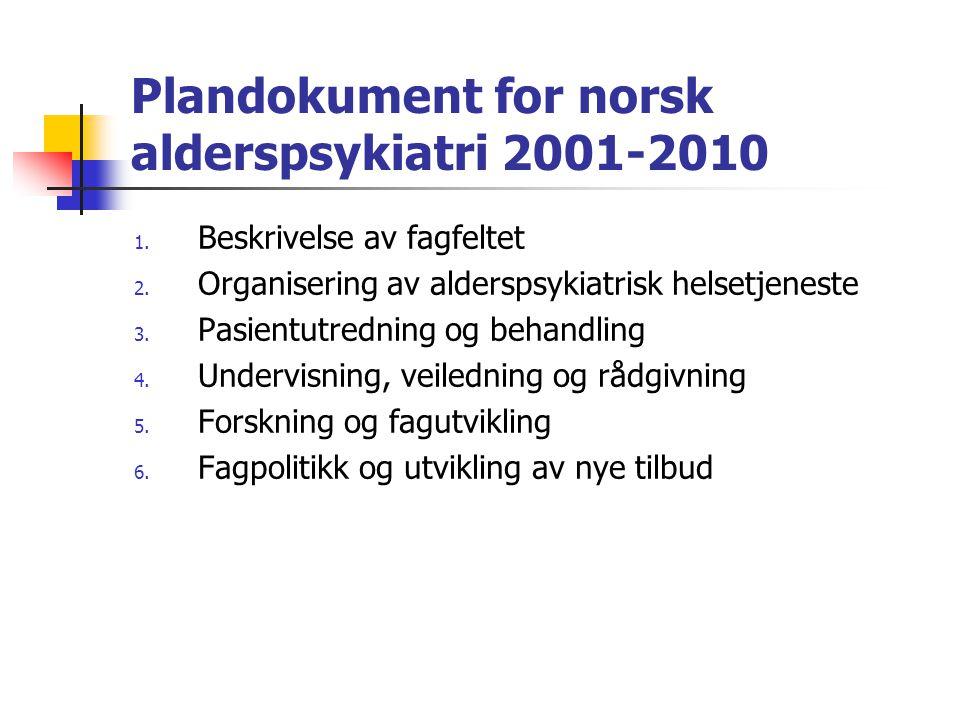 1.Beskrivelse av fagfeltet 2. Organisering av alderspsykiatrisk helsetjeneste 3.