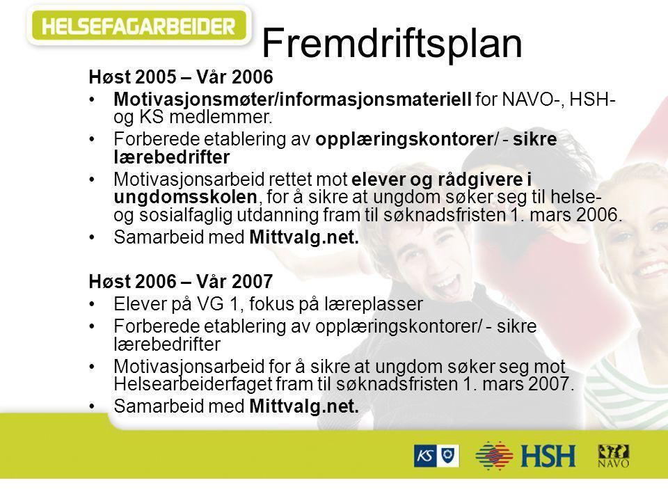 Fremdriftsplan Høst 2005 – Vår 2006 Motivasjonsmøter/informasjonsmateriell for NAVO-, HSH- og KS medlemmer. Forberede etablering av opplæringskontorer