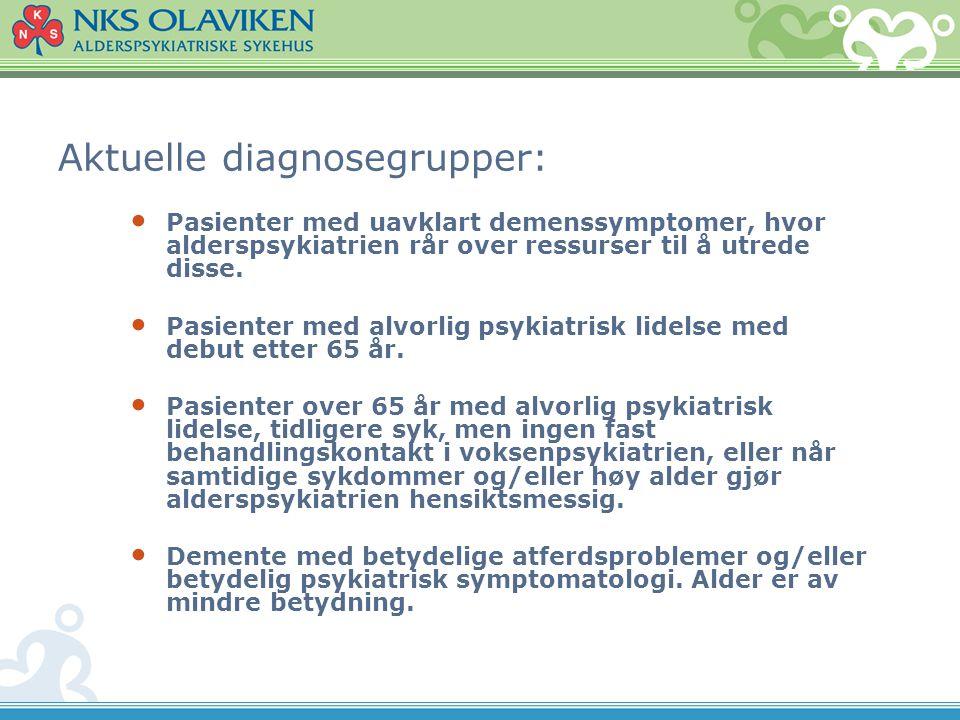 APSD (BPSD) En relativt stor del av pasientene som henvises til NKS Olaviken har psykiske og atferdsmessige tilleggssymptomer til demens.