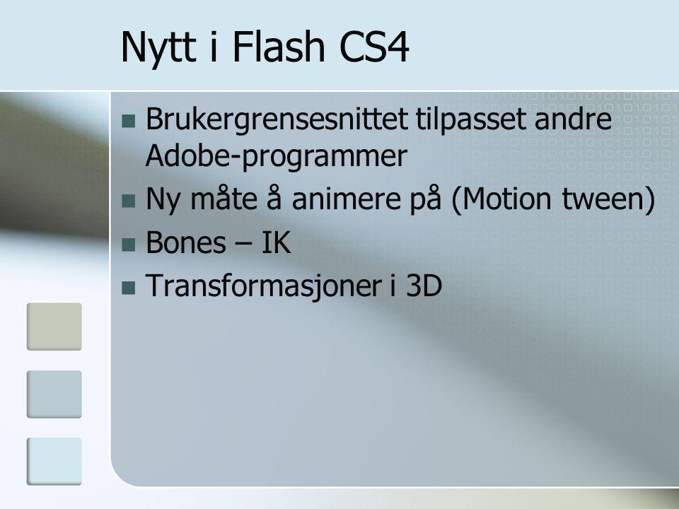 Nytt i Flash CS4 Brukergrensesnittet tilpasset andre Adobe-programmer Ny måte å animere på (Motion tween) Bones – IK Transformasjoner i 3D