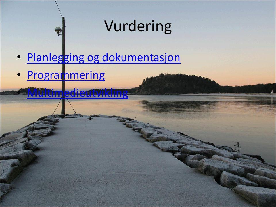 Vurdering Planlegging og dokumentasjon Programmering Multimedieutvikling
