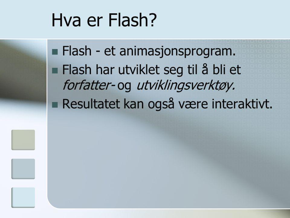 Hva er Flash? Flash - et animasjonsprogram. Flash har utviklet seg til å bli et forfatter- og utviklingsverktøy. Resultatet kan også være interaktivt.